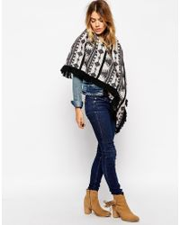 Asos Oversized Triangle Scarf In Black Aztec With Fringing black - Lyst