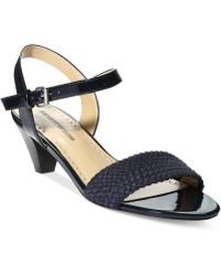 Adrienne Vittadini Carinda Low Heel City Sandals - Lyst