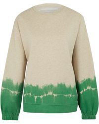 Stella McCartney Green Dip Tie Dye Cotton-blend Sweatshirt - Lyst