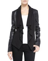 Bagatelle Ruffled Front-drape Mixed Media Leather Jacket - Lyst