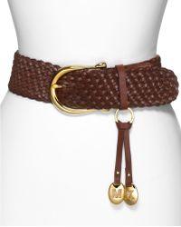 MICHAEL Michael Kors Braided Leather Belt - Brown