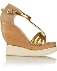 Paloma Barceló Metallic Leather And Suede Wedge Sandals - Lyst