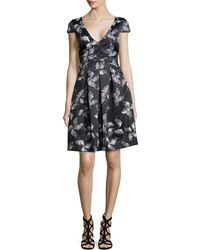 Halston Heritage Cap-Sleeve Floral Dress - Lyst