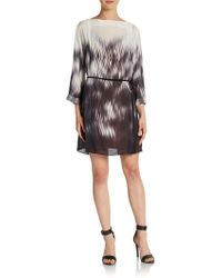 Halston Heritage Abstract-print Shift Dress - Lyst