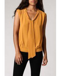 Azalea Tie-Neck Blouse yellow - Lyst