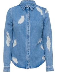 House Of Holland Lace Denim Shirt - Lyst