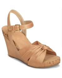A2 By Aerosoles Coral Plush Ankle Strap Wedge Sandal - Brown