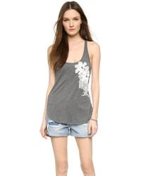 Haute Hippie Embellished Tank With Floral Applique - Charcoal Heather Grey - Lyst