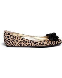 Jimmy Choo Wylie' Satin Bow Leopard Print Cork Flats - Lyst
