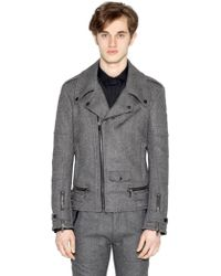 Diesel Black Gold Herringbone Wool Moto Jacket - Lyst