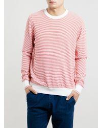 Topman Ltd Red Stripe Crew Neck Jumper - Lyst