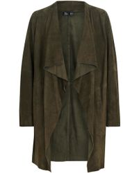 Eileen Fisher - Forest Green Draped Suede Jacket - Lyst