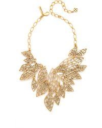 Oscar de la Renta Multi Leaf Bib Necklace - Lyst
