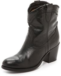Frye Tabitha Pull On Short Boots  Dark Brown - Lyst