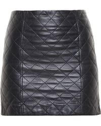 Love Leather Quilted Leather Mini Skirt - Lyst