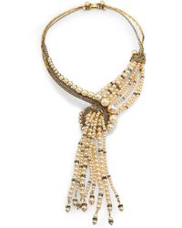 Erickson Beamon Stratosphere Crystal & Faux Pearl Statement Tassel Necklace - Lyst
