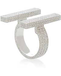 Maison Dauphin | Parallel Framing White Gold And White Diamond Ring | Lyst