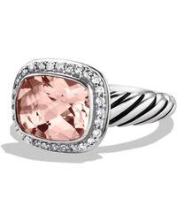 David Yurman Noblesse Ring With Morganite & Diamonds - Metallic
