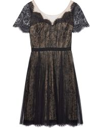 Notte By Marchesa Lace and Pleated Mesh Dress - Lyst