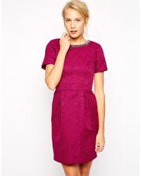 Oasis Embellished Textured Lantern Dress - Lyst
