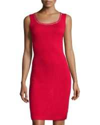 St. John Sleeveless Dress With Scoop Neckline - Lyst