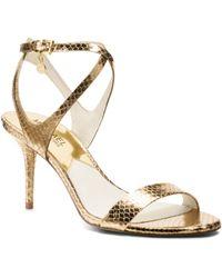 Michael Kors Kaylee Embossed-Leather Sandal - Lyst