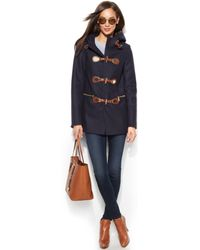 Michael Kors Michael Petite Hooded Toggle Car Coat - Lyst