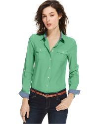 Tommy Hilfiger Button-Down Roll-Tab Sleeve Top - Lyst
