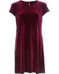River Island Dark Red Velvet Swing Dress - Lyst