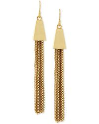 Vince Camuto - Gold-tone Chain Tassel Drop Earrings - Lyst