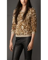 Burberry Wool Cashmere Crushed Sequin Jumper - Lyst