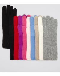 C By Bloomingdale's Cashmere Cable Knit Gloves - Red
