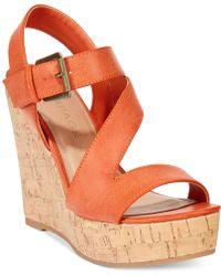 Rampage Helman Platform Wedge Sandals orange - Lyst