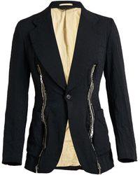 Comme Des Garçons Leopard Print Zip Detail Blazer - Lyst