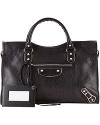Balenciaga Metallic Edge City Bag black - Lyst