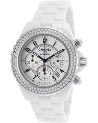 Chanel Pre-Owned Women'S Diamond J12 Automatic Chrono White Ceramic White Dial white - Lyst