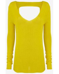 A.L.C. Open Back V Neck Sweater yellow - Lyst