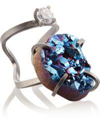 Fendi Palladiumplated Druzy and Crystal Ring - Lyst