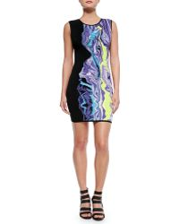 Hervé Léger Sleeveless Dress W Partial Print - Lyst