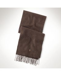 Polo Ralph Lauren Brown Wool Scarf - Lyst