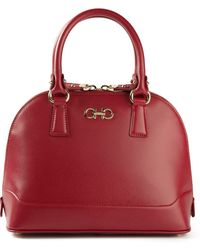 Ferragamo Red Curved Tote - Lyst