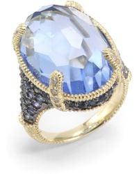 Judith Ripka Blue Quartz Sapphire Diamond 14k Yellow Gold Ring - Lyst