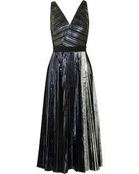 Proenza Schouler Pleated Metallic Coated Cloqué Dress - Lyst