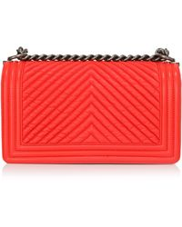 Madison Avenue Couture - Chanel Orange Chevron Medium Boy Bag - Lyst