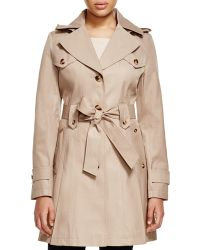 Via Spiga Hooded Pleated Trench Coat - Natural