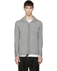 Alexander McQueen Grey Zip_Up Hoodie gray - Lyst