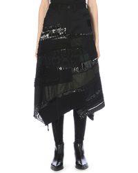 Junya Watanabe Patchwork Wool Skirt - Lyst