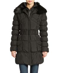 Betsey Johnson Belted Down Coat - Lyst