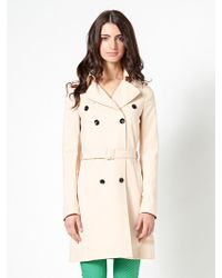 Patrizia Pepe Double-Breasted Trench Coat In Bi-Stretch Couture Fabric - Lyst