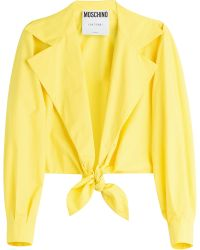 Moschino Tie Front Cotton Shirt - Lyst